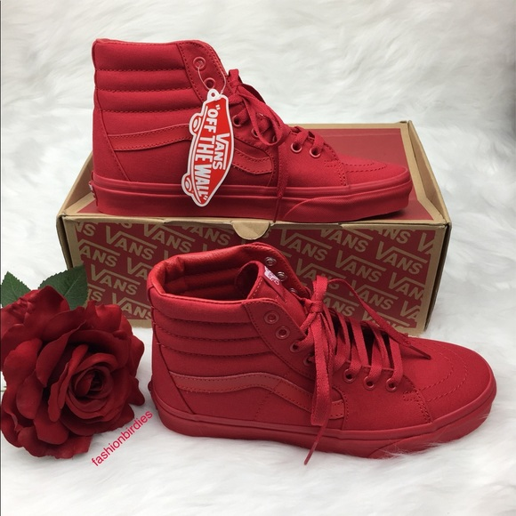 NWT Vans SK8-Hi Mono Canvas Red 32256d459